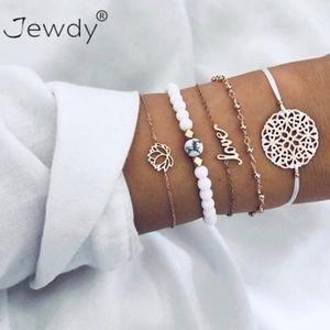 4 Piece Love Lotus Beaded Charm Bracelets
